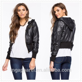 Wholesale Oem Winter Women Clothes Fur Lined Leather Hooded .