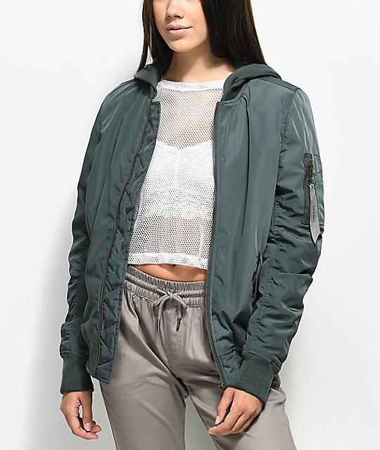 Ninth Hall Daya Urban Green Hooded Bomber Jacket | Zumi
