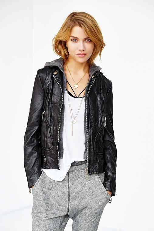 Doma Bianca Hooded Leather Bomber Jacket- from Urban Outfitte