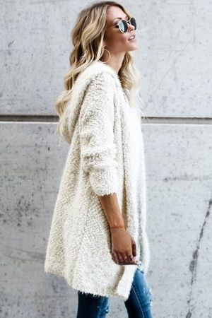 White Fluffy Hooded Open Front Cardigan | Hooded cardigan sweater .