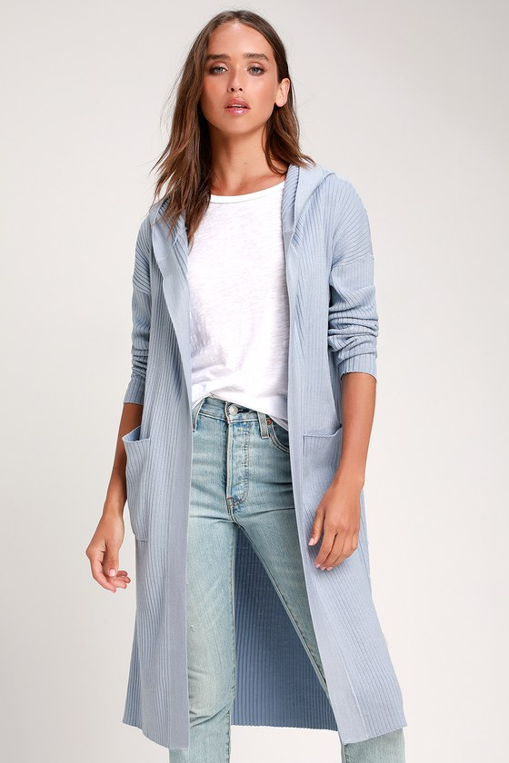 BECKET LIGHT BLUE RIBBED HOODED LONG CARDIGAN SWEATER | Long .
