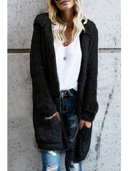 Women's Fluffy Cozy Open Front Hooded Cardigan Long Sleeve Coat .