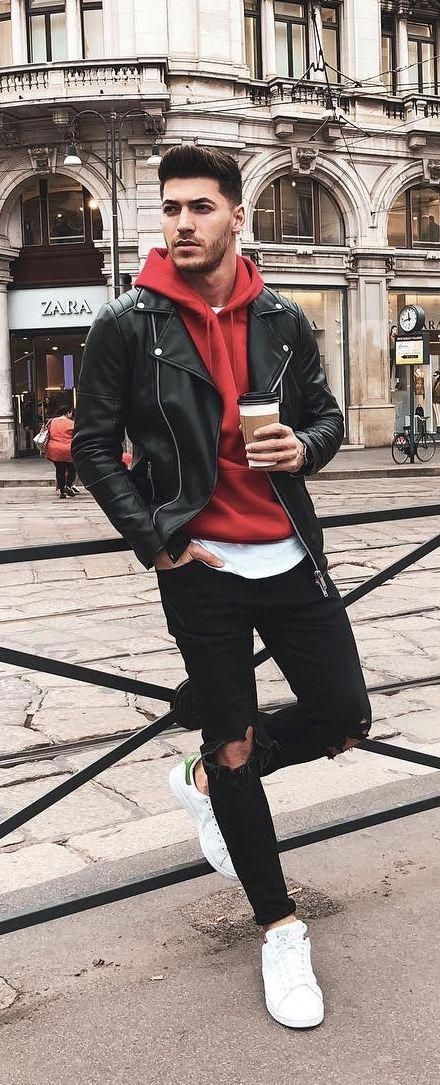 Summer outfit inspiration with a black leather jacket red hooded .