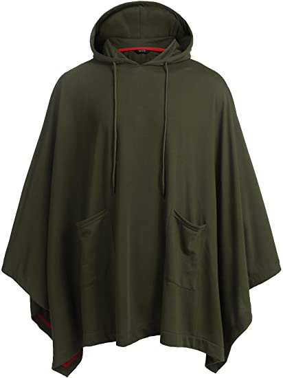 COOFANDY Unisex Casual Hooded Poncho Cape Cloak Fashion Coat .