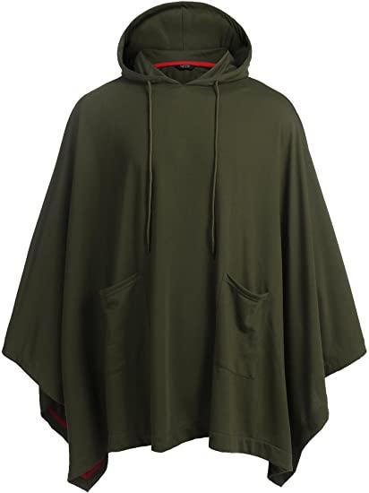 COOFANDY Unisex Casual Hooded Poncho Cape Cloak Fashion Coat .