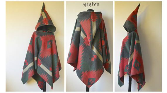 Pixie Hooded Poncho Aztec Winter Wool Hippie Elven Clothes Women .