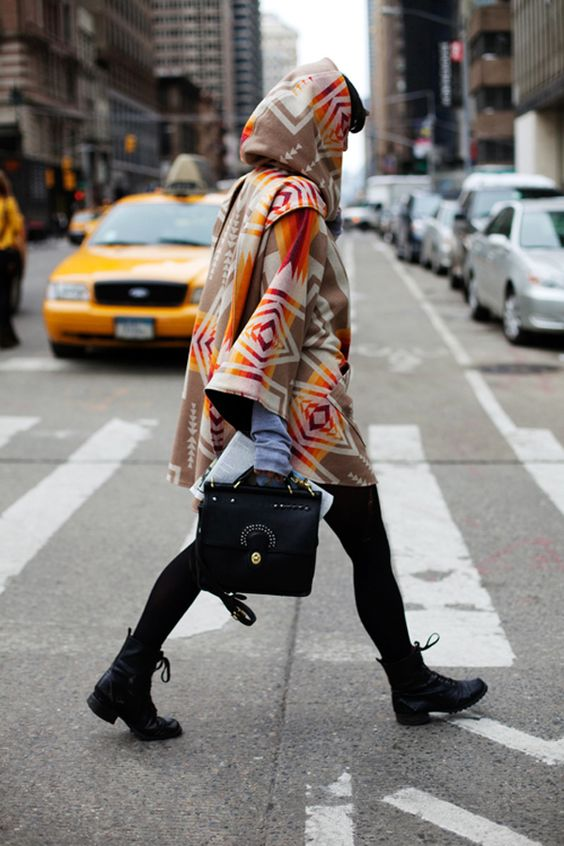 How to Style Hooded Poncho: 12 Boho and Interesting Outfits - FMag.c