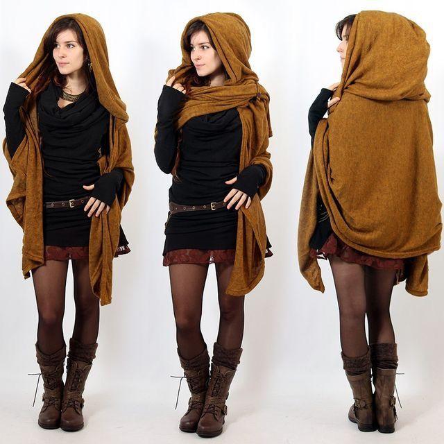 Hooded wrap cardigan | Fashion, Fantasy fashion, Sty