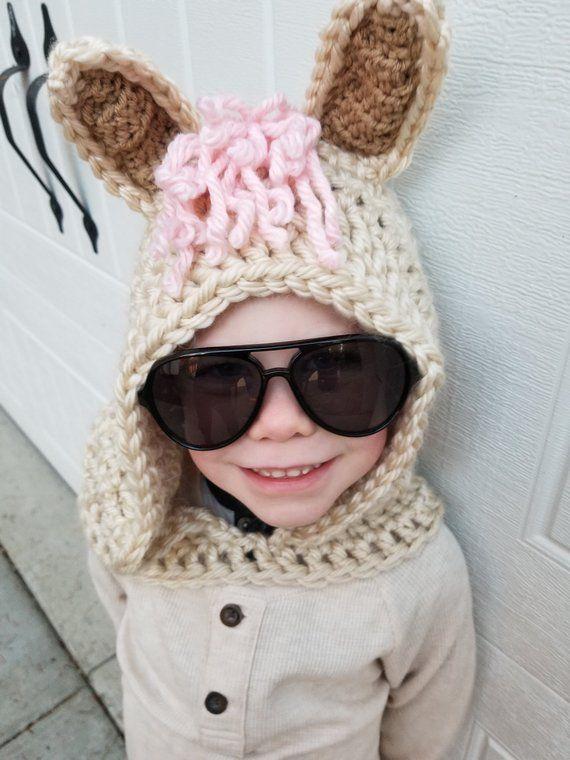 Llama Costume | Handmade Hooded Scarf, Crochet Llama Gift, Kids .