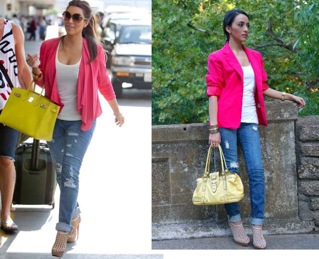 Kim Kardashian Inspired outfit pink blazer and yellow bag | Outfit .