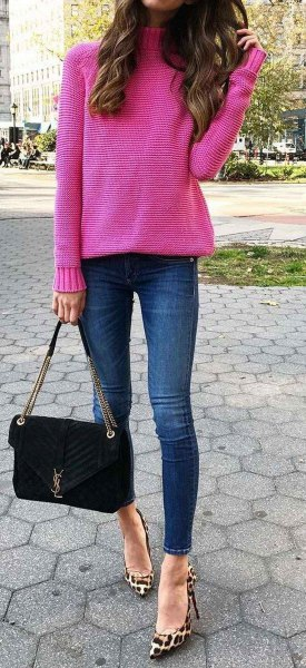 15 Attractive Hot Pink Sweater Outfit Ideas for Ladies - FMag.c