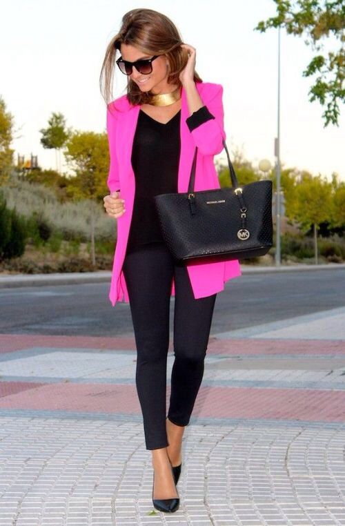 Classy black and neon pink outfit | Fashion, Everyday fashion, My .