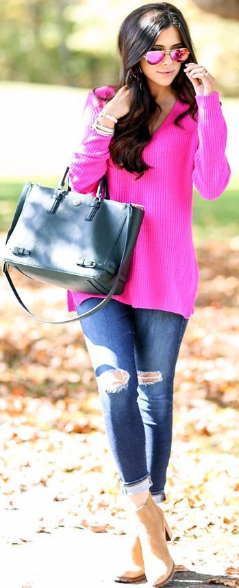 15 bright sweater outfit ideas for fall and winter | Fashion, Pink .