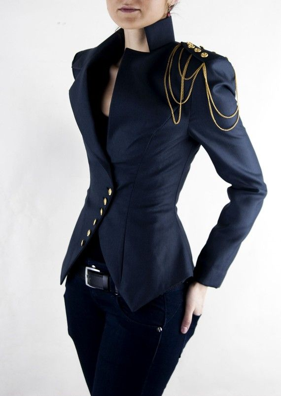 Asymmetrical Blazer, Women's Jacket, Office Suit, Shoulder Chain .