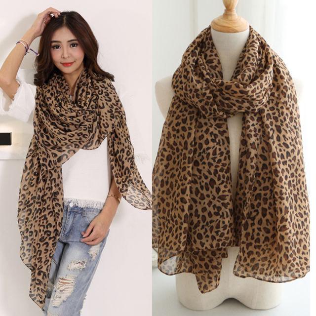 Fashion Women Long Style Wrap Lady Shawl Leopard Chiffon Scarf .