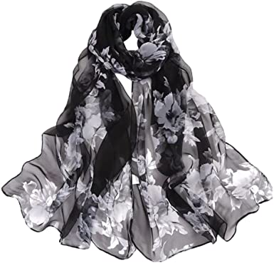 Women's 100% Chiffon Scarf Neck Fashionable Printing Country Style .