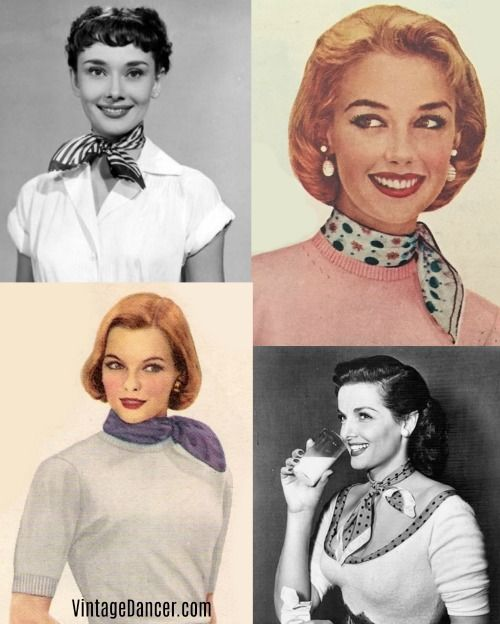 Vintage Scarves- Styles from 1920s to 1960s | Vintage scarf, Neck .