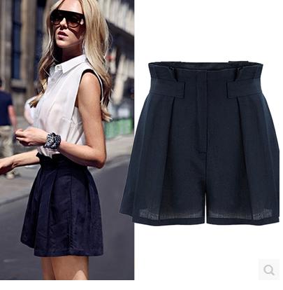 Casual Loose high waist shorts For Women Wide Leg Linen Shorts .