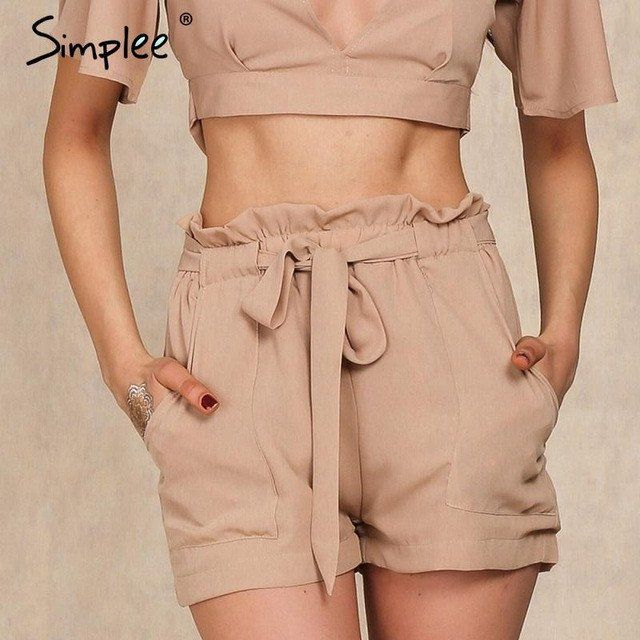 Simplee summer new style chiffon shorts Bow high waist belt shorts .