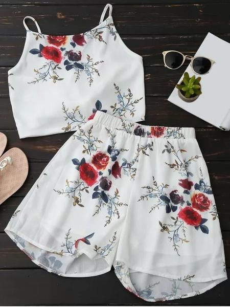 Floral Backless Crop Top and Chiffon Shorts | Backless crop top .