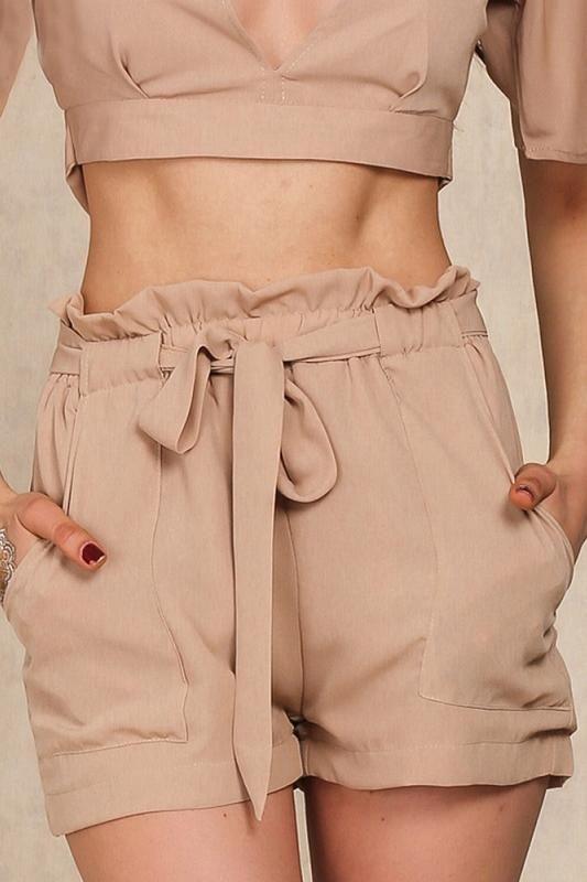 8DESS Chiffon Waist Belt Shorts Pocket Casual Women Shorts .