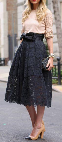 Street style blush shirt and black lace skirt | Fashion, Black .
