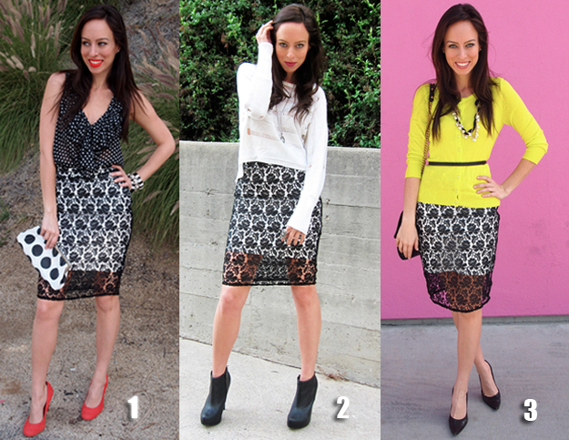 Black Lace Skirt trend how to wear it different ways outfit ideas .