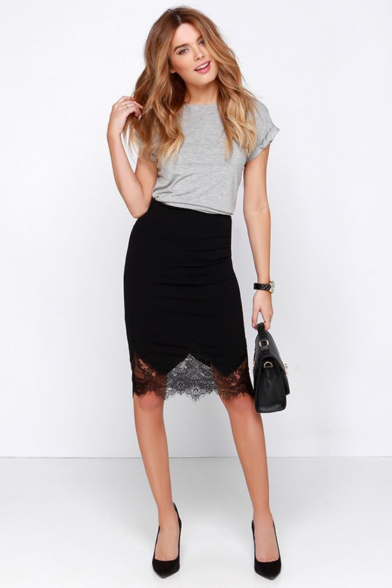 Chic to Me Black Lace Midi Skirt | Lace midi skirt, Style, Fashi