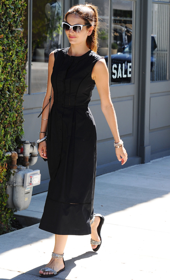 Copy Camilla Belle's Sleeveless Black Midi Dress And Cat Eye .