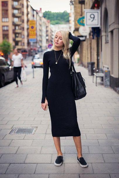 Basic Black Long Sleeve Midi Dress - Dresses - PrettylittleThing .