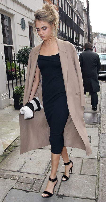 Cara Delevingne wearing Beige Coat, Black Midi Dress, Black Suede .