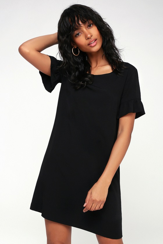 Cute Black Shift Dress - Ruffle Shift Dress - Short Dre