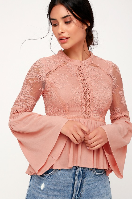 Pretty Blush Pink Lace Top - Bell Sleeve Top - Lace Peplum T