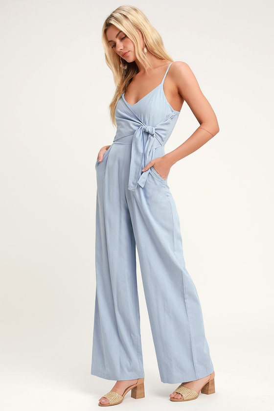 Tallulah Light Blue Chambray Wide-Leg Jumpsuit in 2020 | Blue .