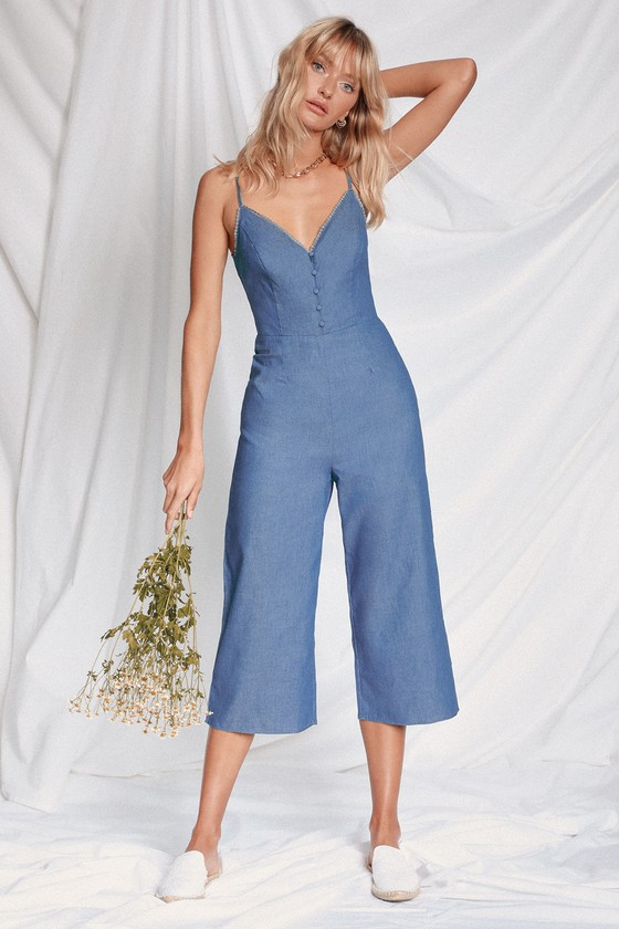 Cute Blue Jumpsuit - Chambray Jumpsuit - Culotte Jumpsu