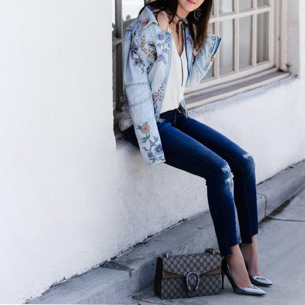 How to Wear Embroidered Denim Jacket: 15 Stylish Outfits - FMag.c