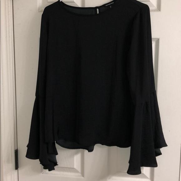 Who What Wear Tops | Black Split Flare Sleeve Top | Poshma