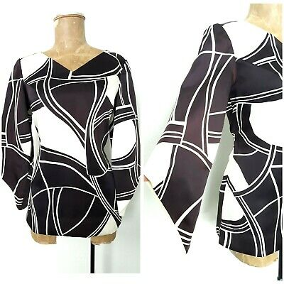 Vintage 70s Art To Wear Flare Sleeve Top Size Medium Avant Garde .