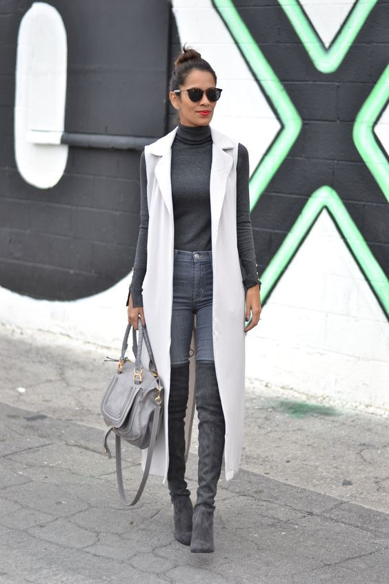 20 Style Tips On How To Wear Grey Boots | Grey outfit, Long vest .