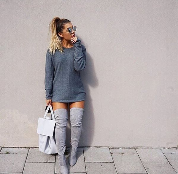 20 Style Tips On How To Wear Grey Boots | Edgy fashion, Fashion .