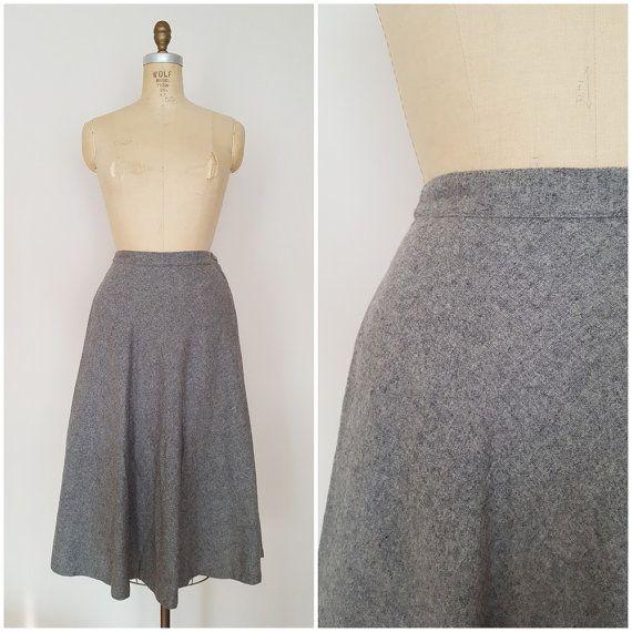 Vintage 1940s Grey Wool Skirt / A-Line / 40s Skirt / Winter Skirt .