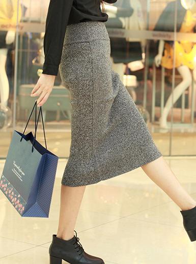 Womens Pencil Skirt - Grey / Wool / Below the Kn