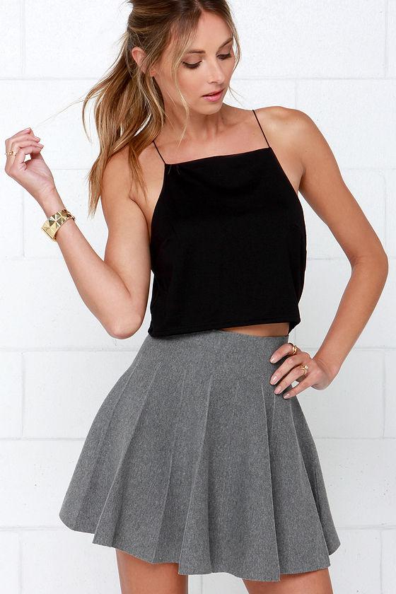 Cute Grey Skirt - Skater Skirt - Pleated Skirt - Wool Skirt - $44.