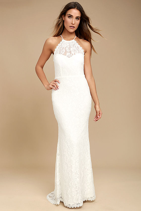 Lovely White Dress - Maxi Dress - Lace Dress - Halter Dre