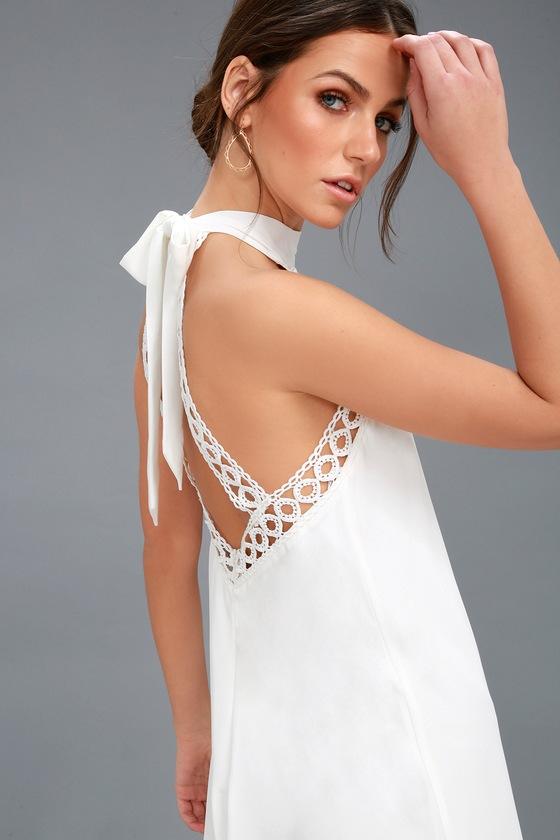 Cute White Dress - Lace Dress - Halter Dre