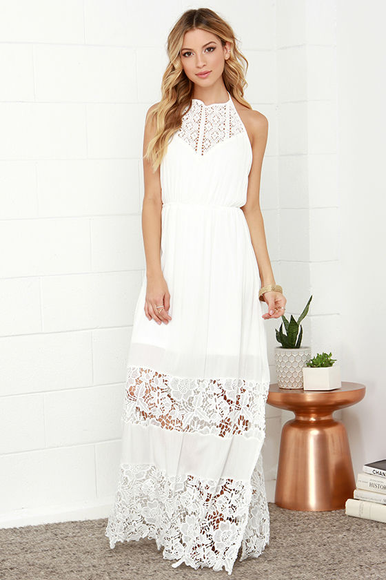 Ivory Dress - Maxi Dress - Lace Dress - Halter Dress - White Dress .