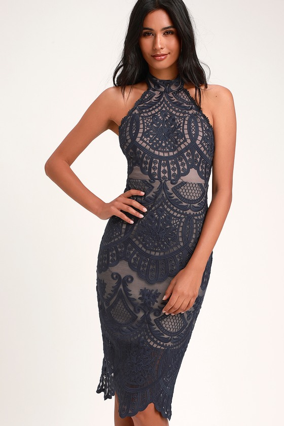 Lovely Navy Blue Dress - Halter Dress - Lace Dress - Midi Dre