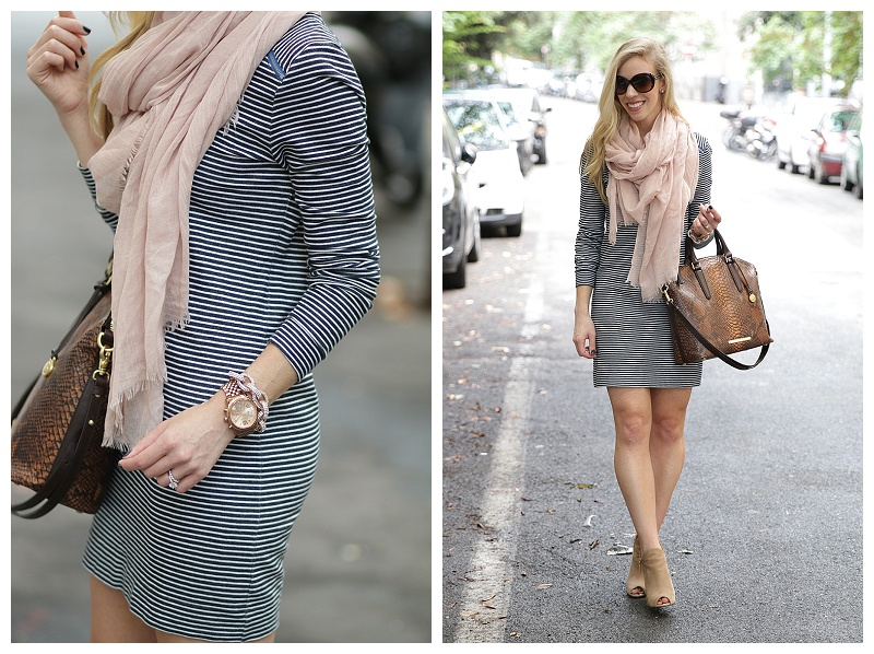 striped sweatshirt dress with scarf, fall transitional outfit .