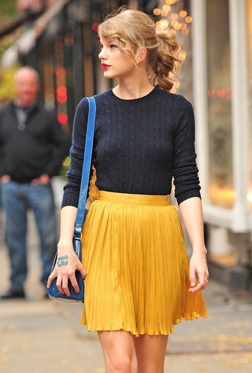 How to Wear a Mustard Pleated Mini Skirt (6 looks & outfits .