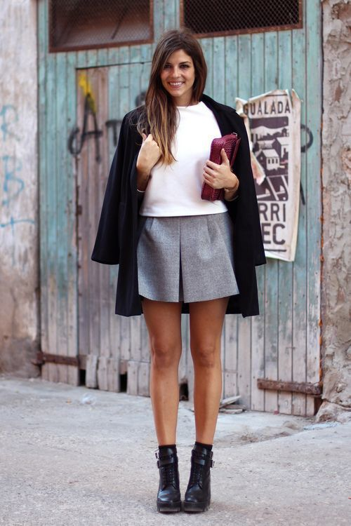 How to Wear a Grey Pleated Mini Skirt (5 looks & outfits .